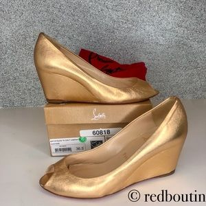 👠firm 👠 LOUBOUTIN Matatales 70 gold Wedges 36.5